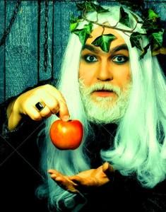 Zeus god or jupiter with apple. Mythology, ancient Greece, magic