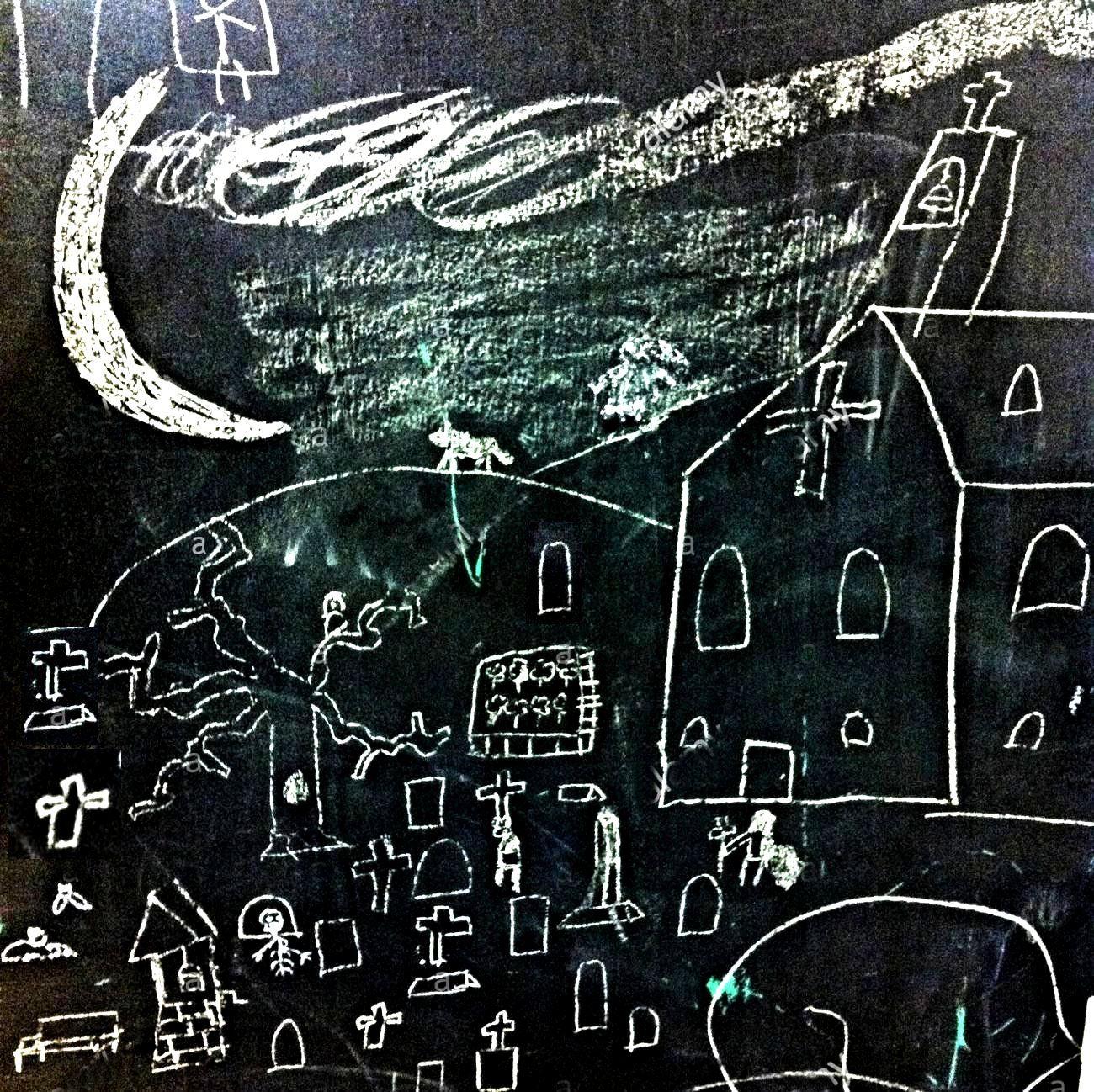 un-bambino-e-il-disegno-di-una-chiesa-e-di-un-cimitero-su-una-scheda-di-chalk-s02026